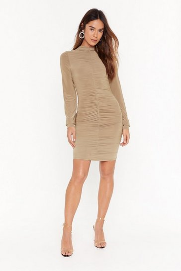 Camel High 'N  Dry Ruched Mini Dress