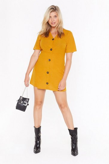 Womens Mustard Get Button With It Plus Ribbed Mini Dress