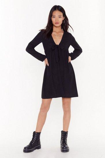 Black Tie to Be Nice Ribbed Mini Dress