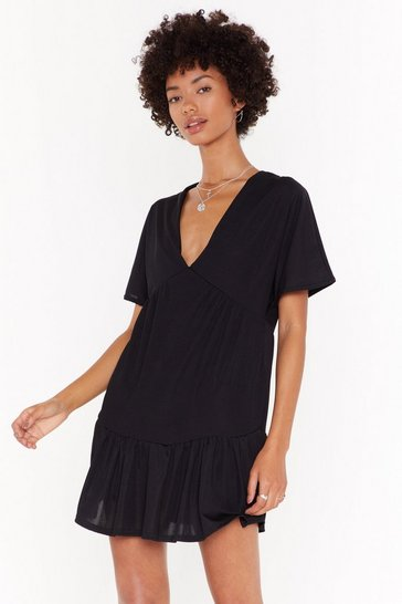 Womens Black It's Time to Relax Mini Dress