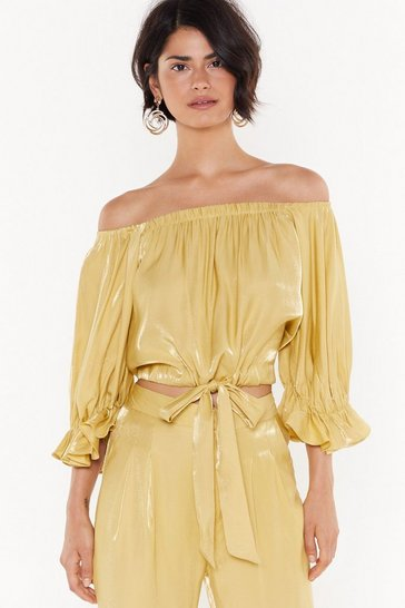 Olive Shimmer Puff Sleeve Bardot Top