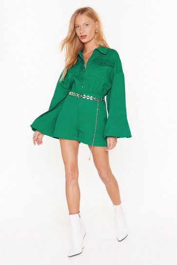 Green Sleeve 'Em to It Oversized Utility Romper