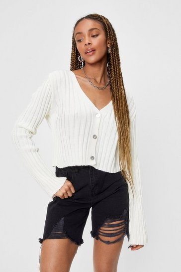 Ecru Chunky Knit Cropped Cardigan
