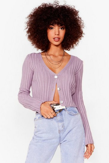 Lilac Do What Knit Takes Chunky Knit Cardigan