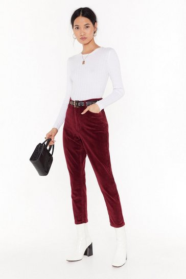 Womens Wine Put Your Re-cords On Corduroy Mom Jeans