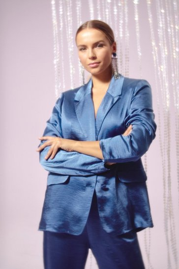 Womens Blue Satin It to Win It Button-Down Blazer