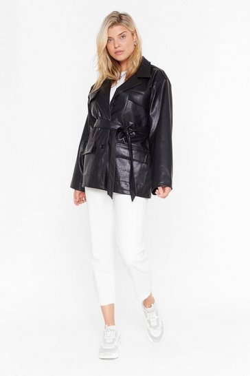 Womens Black Plus Life On Mars Belted Jacket