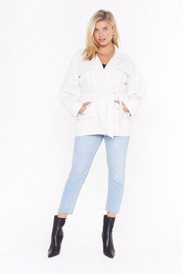Womens White Plus Life On Mars Belted Jacket