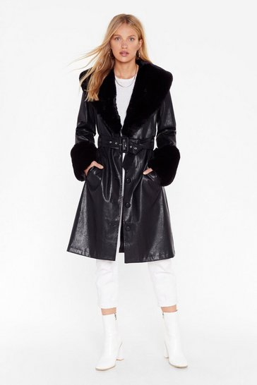 Womens Black I'm That Girl Faux Fur Collar Trench Coat
