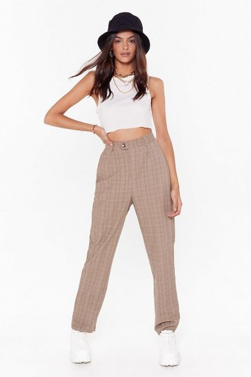 Womens Brown Check Ya Later Tapered Pants