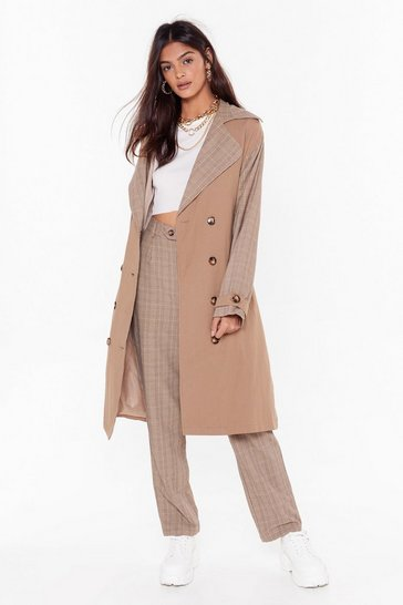 Womens Stone Check Ya Later Double Breasted Trench Coat