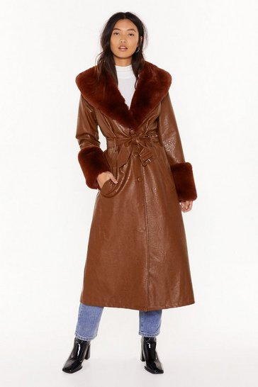 Womens Chocolate I'm That Girl Faux Fur Collar Trench Coat