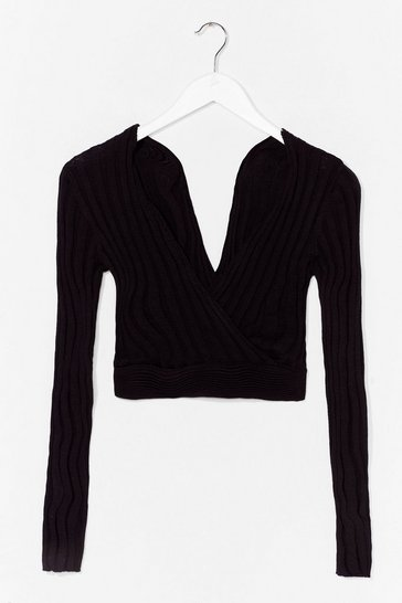Black And That's Wrap Knit Crop Top