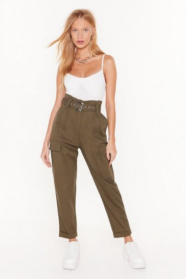 Womens Khaki Cargo For It High-Waisted Belted Pants