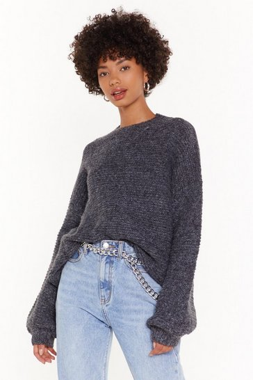 Womens Black Do You Be-Sleeve Relaxed Sweater