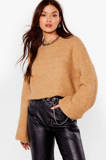 Womens Camel Do You Be-Sleeve Relaxed Sweater