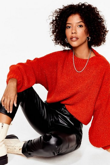 Womens Rust  chunky stitch oversized jumper
