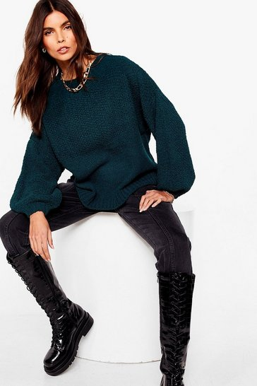 Teal  chunky stitch oversized jumper
