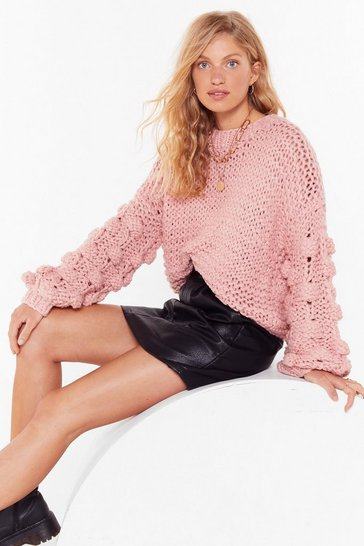 Rose pink Call It Knit's Pom Pom Balloon Sleeve Sweater