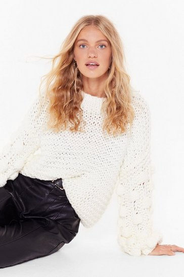 Womens White Call It Knit's Pom Pom Balloon Sleeve Sweater