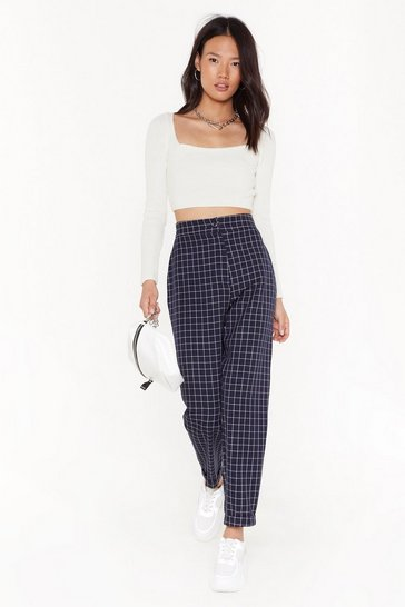 Womens Navy ms mini window pane check tapered pants