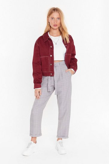 Always Checking You Out High-Waisted Tapered Pants, Lilac, FEMMES
