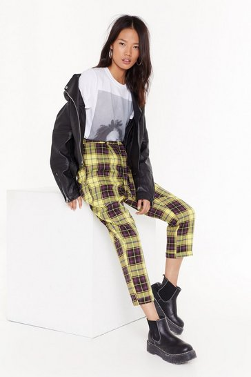 Womens Yellow  bold check turn up pants