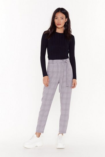 Womens Dark red Tie-red of It Check Pants