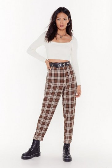 Womens  tapered brown check pant