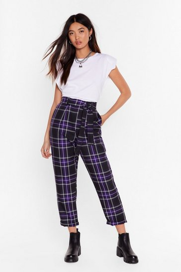 Always Checking You Out High-Waisted Tapered Pants, Purple, FEMMES