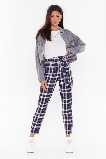 Always Checking You Out High-Waisted Tapered Pants, Navy, FEMMES