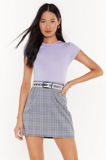 Womens Grey  mono check mini skirt