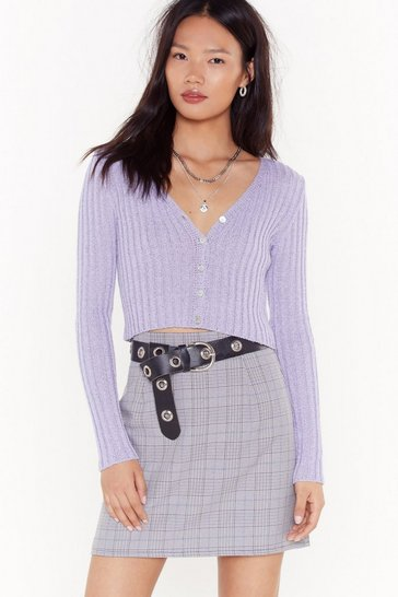 Womens Lilac  PURPLE CHECK MINI SKIRT
