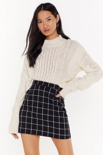 Black Check A Line Mini Skirt