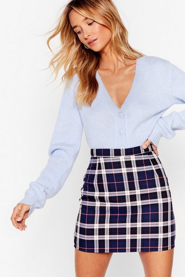 Womens Navy  bold check mini skirt
