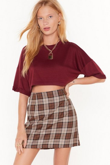 Womens Brown Mandatory Check Mini Skirt