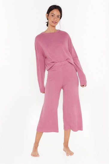 Womens Pink You've Met Your Match Knitted Sweater and Pants Set