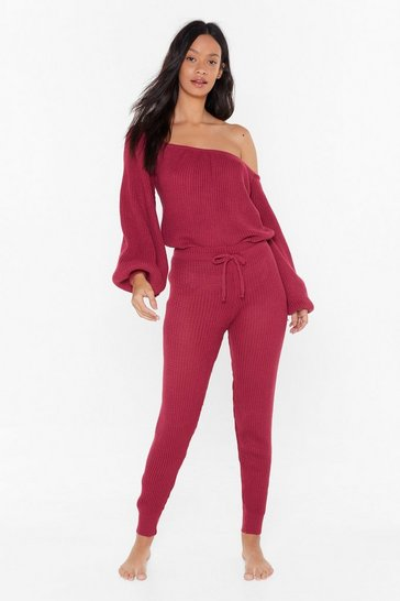 Womens Raspberry Big Be-sleever Sweater and Joggers Lounge Set