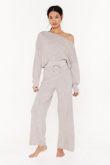 Womens Stone Slow Down Sweater and Jogger Lounge Set