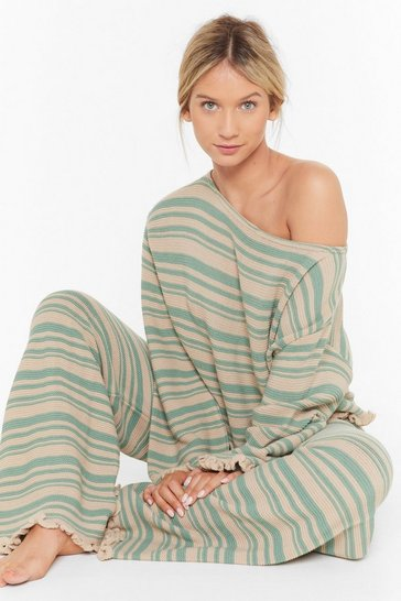 Jump Into Bed Striped Sweater and Pants Lounge Set, Sage