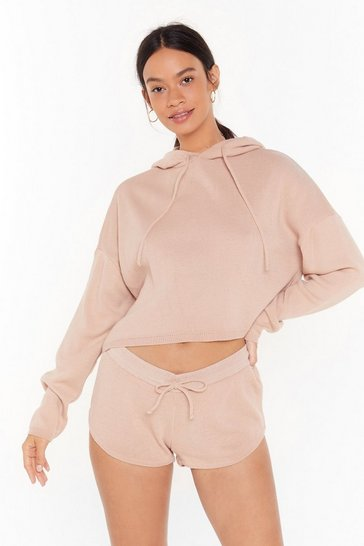 Womens Nude Warm Heart Knitted Sweater and Shorts Set