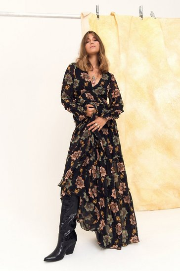 Womens Black Landslide Floral Maxi Dress