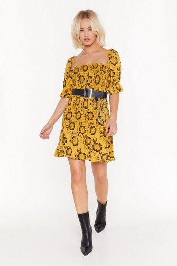 Womens Yellow Floral fully shirred square neck mini dress