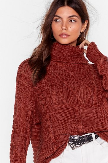Womens Burgundy Never Grow Cold Cable Knit Turtleneck Sweater