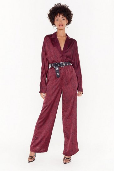 Womens Red Such an Animal Satin Batwing Jumpsuit