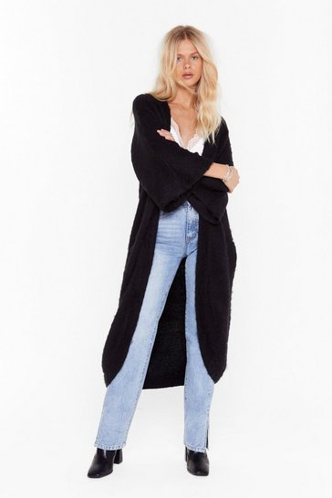 Womens Black Can't Stop Knit Now Longline Cardigan