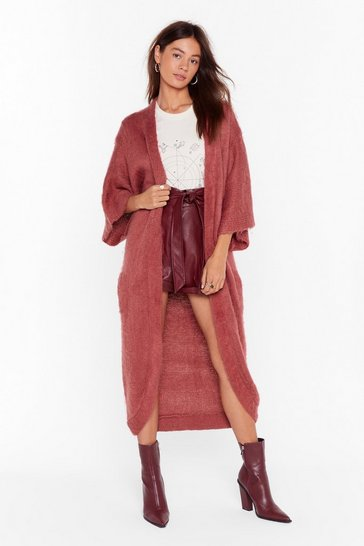 Womens Burgundy Can't Stop Knit Now Longline Cardigan