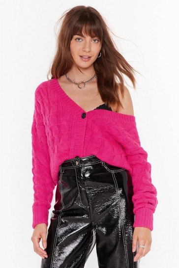 Hot pink Cable to Love Knit Button-Down Cardigan