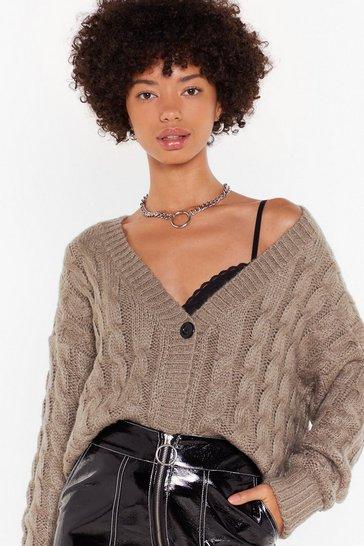 Womens Oatmeal Cable to Love Knit Button-Down Cardigan