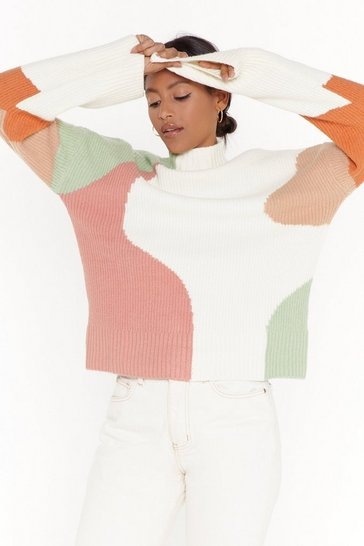 Womens Cream mix colour patch knitted jumper